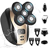 RotaryShavers for Men Bald Head,Razors Shaving Rechargeable Cordless USB,Rotary Shaver Grooming Kit with Clipper Nose Hair Sideburns Trimmer Facial Clean,IPX7-Waterproof