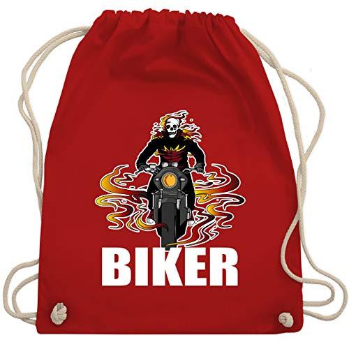 Shirtracer Motorräder - Skelett Motorradfahrer Biker - Unisize - Rot - WM110 - Turnbeutel und Stoffbeutel aus Bio-Baumwolle