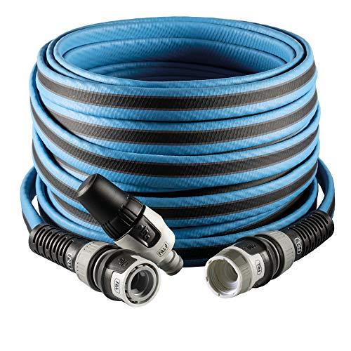 FITT FORCE - Manguera de agua de jardín de 5/8 pulgadas, 15 m, compacta, ligera y resistente, para uso intensivo con lanza, azul con línea gris