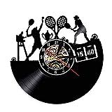 BBZZL Juego de Tenis iluminación Arte de Pared Reloj de Pared de Vinilo LED Reloj Deportivo Campeonato de Tenis Reloj Retro Reloj de Jugador de Club de Tenis Sin LED