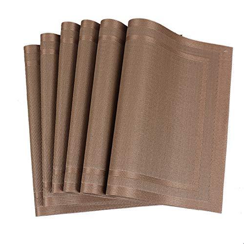 Kjz-placemats Multifunktionales Tischset, 45 * 30 cm Rechteckige Tischmatte PVC Verbrühschutz Und wasserdichte Isolierpads Cafe Tischmatte(Size:6pcs)