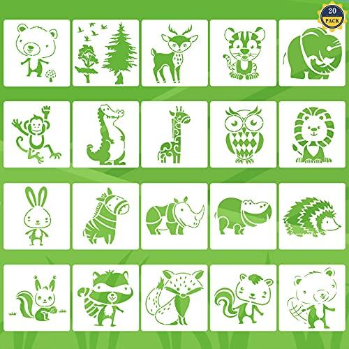 Tiermalerei Schablone 20 Stück Kinder Zeichenschablonen Tiere Malen Schablone Wiederverwendbare Kunststoff Malschablonen Stencil Schablonen für DIY Basteln