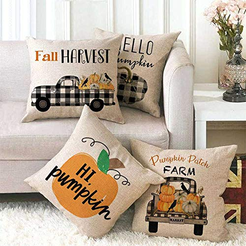 Cushion Covers Set Of 4 Halloween Black Plaid Pumpkin Car Fall Linen Square Throw Pillow Covers Case For Sofa (Without Core)18x18inch(45x45cm) For Home Decorative Sofa Livingroom Bed Office Car Waist