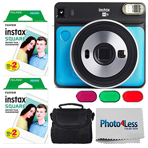 Check Out This Fujifilm Instax Square SQ6 Metallic Blue Instant Camera + 2 Pack Fujifilm instax Square Instant Film (20 Exposures) + Case + Cloth