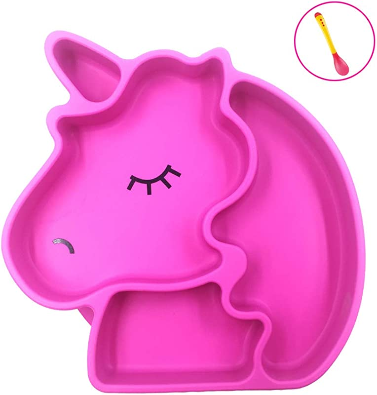 Palksky Unicorn Silicone Grip Dish Suction Plate With Gift Spoon For Baby Toddlers Non Slip Divided Plate BPA Free Microwave Dishwasher Safe 7 X7 X1 18