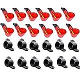 Eariy - Set di 12 tazze per pollame per pollo/quaglie, per acque di pollo/quaglie, alimentatori automatici per acqua in plastica rossa