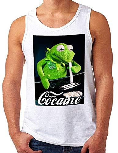 OM3® Enjoy-Cocaine-Frog Tank Top Shirt | Herren | Kokain Kult Logo Drug Fun Graphic Shirt | Weiß, S