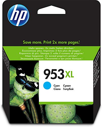HP 953XL F6U16AE Cartuccia per Stampanti a Getto di Inchiostro, Compatibile con OfficeJet Pro 8710, 8715, 8718, 8720, 8725, 8730, 8740 e 7740 Grandi Formati, Ciano