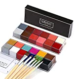 CCbeauty Professional Face Paint Oil 24 Colors Body Art Party Fancy Make Up with 6 Wooden Brushes
