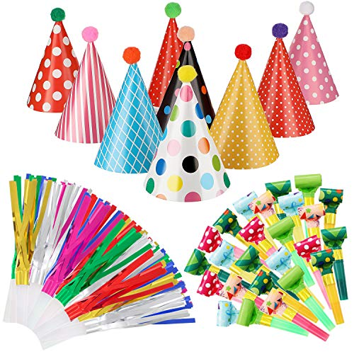 9 Pieces Birthday Party Hats Adorable Party Cone Hats with 24 Colorful Paper Blowouts and 24 Glittering Metallic Tassel Blowouts for Birthday Party