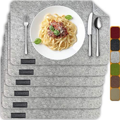 MAHEWA® 6er Set Premium Tischset Platzset aus Filz rutschfest Ab-waschbar und Waschmaschinenfest Eckige Platzdeckchen Teller-Untersetzer Filzset Tisch-Matten Platz-Matten (Hellgrau, 6er Set)