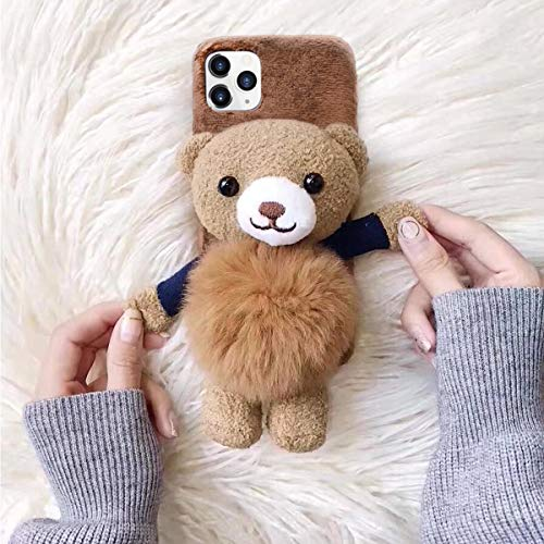 Losin Bear Case Compatible with Apple iPhone 12 Mini 5.4 inch Case Fashion Luxury Lovely Cute Fuzzy Furry Winter Rabbit Hair Warm Plushball 3D Bear Doll Hard PC Back case