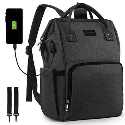 BZBRLZ Diaper Bag Backpack, Nursing Nappy Backpack with Travel Stroller Straps, Nylon Waterproof Maternity Baby Bag, USB Port, Large & Stylish & Durable (Black)