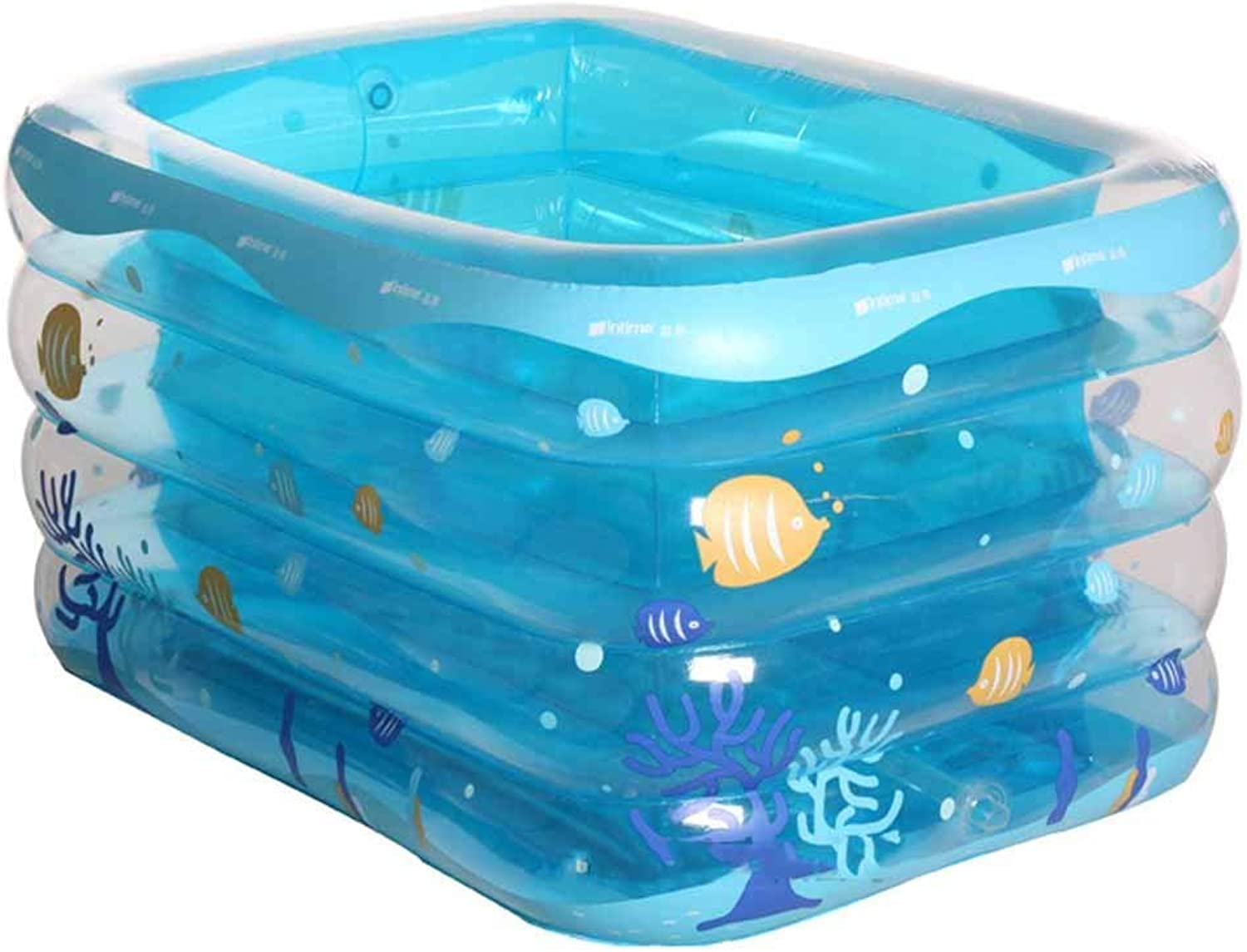 Home practical bathtub Infant and toddler inflatable pool Thicker long side plus baby puzzle pool Bathtub (color   bluee, Size   120cm)