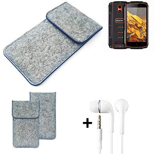 K-S-Trade® Filz Schutz Hülle Für Energizer P20 Schutzhülle Filztasche Pouch Tasche Handyhülle Filzhülle Hellgrau, Blauer Rand + Kopfhörer