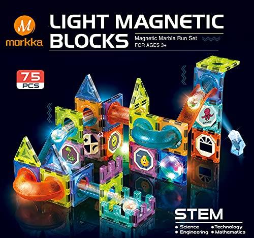 Morkka Deluxe Kit Bloques de Construcción Magnéticos 3D para Niños y Niñas de 3 4 5 6 y 7 Años Juguete Educativo con Figuras Geométricas para Desarrollar la Creatividad de Sus Pequeños (75pcs)