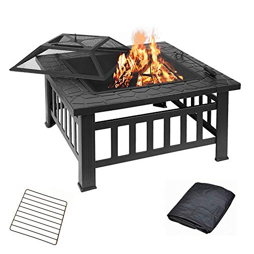 PYXZQW Outdoor Fire Pit Wood Burning, 32 Inch with Spark Screen Poker Waterproof Cover Square Firebowl, for Patio Garden