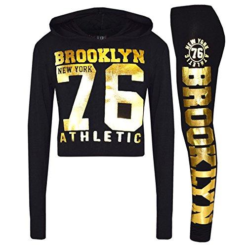 A2Z 4 Kids® Mädchen Top Kinder Designer BROOKLYN NEW YORK 76 ATHLETIC - Brklyn Hooded Crop Set Black Gold 11-