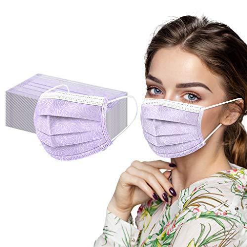 Keepwin 50 Stück Einweg 3 lagig Mund-Nasen-Schutz, Motiv Atmungsaktive Multifunktionstuch Bandana Halstuch Schals für Erwachsene und Kinder (A-50PC)