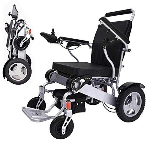 WXDP Silla de ruedas autopropulsada, eléctrica plegable, ligera, plegable, motorizada, compacta (peso neto 23 kg) silla eléctrica, batería doble, caja fuerte