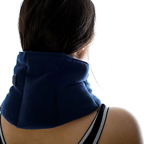 Zhu-Zhu Soothing Neck & Joint Wrap - Microwavable Unscented Wheat Bag Navy Fleece - Microwave Heat Pad Hot Pack - Heat Therapy Pain Relief