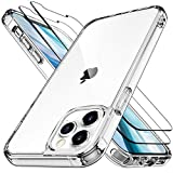 LK Cristal Templado Funda Compatible con iPhone 12 5G 6.1 Pulgadas, 2 Pack Vidrio Templado Protector de Pantalla & 1 Clear Cover Case Carcasa Compatible con iPhone 12 Pro 5G - Transparente