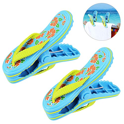 LYTIVAGEN 2 Pack Beach Towel Clips Plastic, Cute Slippers Sunbed Beach Pegs, Large Sized Laundry Pegs for Holiday, Beach, Pool