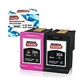 WonnaTrade 304XL - Cartuchos de tinta reciclados para HP 304 304XL compatibles con Envy 5010 5020 5030 5032 5050 5055 Deskjet 2620 2622 2630 2632 2633 2634 3720 3730 3735 3750 3760 (1 negro y 1 color)