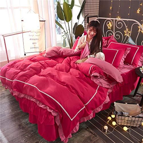 yaonuli Bedlaken 4-delig Winter herfst bedlakens katoen idyllic roze glanzend 2,0m bed (6,6 Pi)