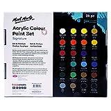 Mont Marte Acrylfarben-Set 24Farben 36ml, perfekt für Leinwand, Holz, Stoff, Leder, Karton, Papier, MDF und Basteln - 9