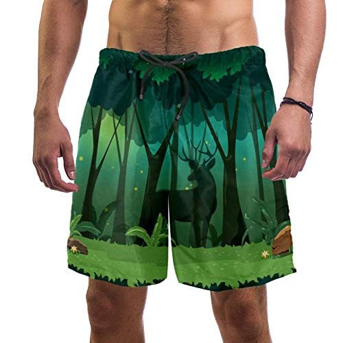 Eslifey - Pantalones cortos de playa para hombre, diseño de ciervos, hadas, jungla mágica noche, bosque, bañador elástico, para hombre multicolor XL