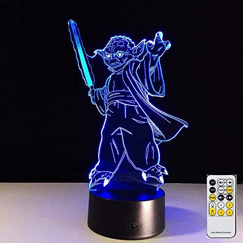 Master Yoda Mood great 3D LED Night Light Lámpara de mesa Mesita de noche Decoración Regalo de niños