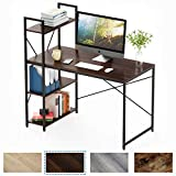 Bestier Computer Desk with Shelves,Writing Desk with Storage Bookshelf Reversible Study Table Office Corner Desk with Shelves Home Office Desk with Bookshelf Easy Assemble (47 Inch, Brown)
