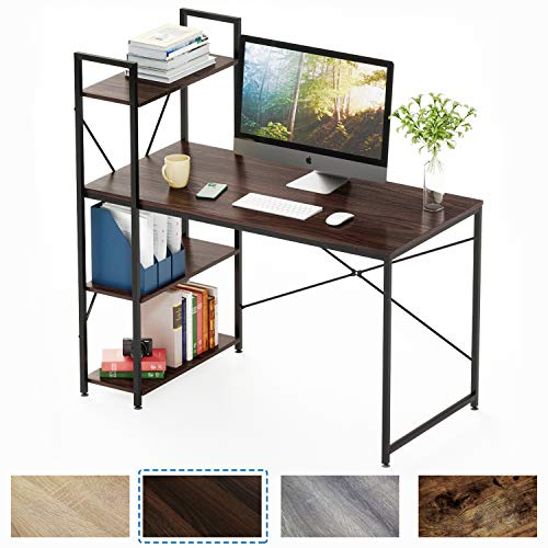 Bestier Computer Desk with Shelves,Writing Desk with Storage Bookshelf Reversible Study Table Office...