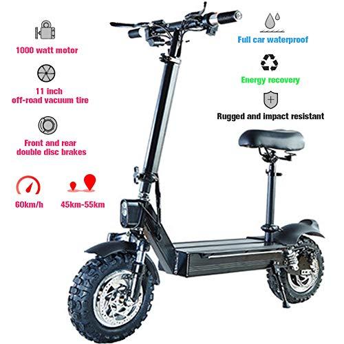 MY1MEY Faltbar Elektro Scooter, 1000W Wasserdicht Elektroroller E-Motor 48V Wiederaufladbare Lithiumbatterie E-Tretroller 3 Geschwindigkeitsregler 60 Km/h Mit Led-Licht,11 Zoll Offroad-Reifen