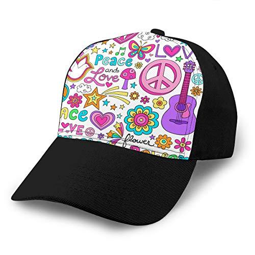 hyg03j4 7 Casquettes de Baseball Cowboy Chapeaux de Style Camionneur Unisexe Paix Amour griffonnages de Cahier de Musique