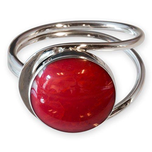 Fly Style Damen Finger-Ring Korallen Optik echt 925 Silber risi026_rot