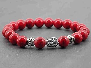 Zen braccialetto etnico per gli uomini Thurcolas con ricostituiti perline turchese rosso e perline Buddha argentati tibetani