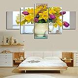 SJVR 5 lienzos Modular Pintura de Pared Impresa Cuadro de Flores Arte decoración de la habitación Cuadro de impresión Paneles de Pared Lienzo Arte 5 unids/Set