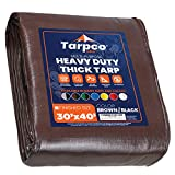 Tarpco Safety Extra Heavy Duty Tarp Cover, Waterproof, UV Resistant, Rip and Tear Proof, Poly Tarpaulin with Reinforced Edges for Roof, Camping, Patio, Pool Cover, Boat (Brown/Black 30′ X 40′)