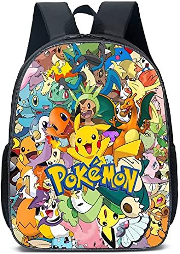 Pikachu Mochila de dibujos animados ajustable, mochila de diario, mochila para el tiempo libre, bolsa grande para ordenador portátil para niños, hombres y mujeres, Negro , 13 pulgadas,