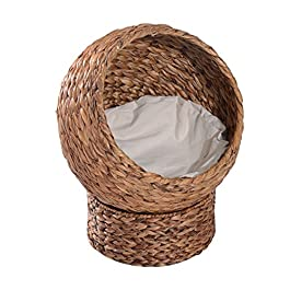 Pawhut Woven Banana Leaf Elevated Cat Bed House Basket Soft Cushion Dome Basket 42x33x52 cm