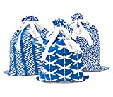 100% Cotton Fabric Gift Bags (Large Set, Blue), two 16x20 inch and one 12x16 inch