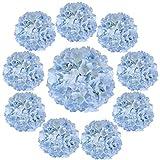 Cotemdery - Fiori di ortensia artificiali in seta, 10 pezzi, con stelo, per composizioni floreali, centrotavola per la decorazione di matrimoni e casa, colore: azzurro