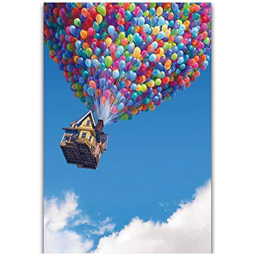 Klassieke Cartoon Film Ballonnen Comic Sky Landschapsschilderkunst Poster Prints Canvas Muur Foto Voor Home Room Decor -50x75cm Geen Frame