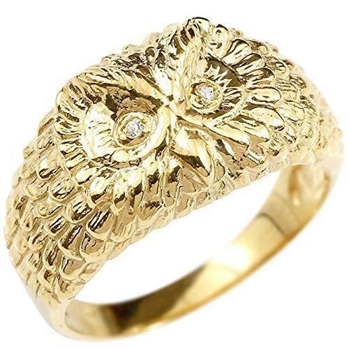 [アトラス]Atrus リング レディース 婚約指輪 10金 イエローゴールドk10 ダイヤモンド ふくろう エンゲージリング 幅広 指輪 22号