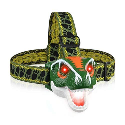 DAXIN Dinosaurier LED Stirnlampe für Kinder, T-Rex Dino Spielzeug LED Kopflampe mit Roar Sound, Scheinwerfer mit 3 Beleuchtungsmodi, Taschenlampe für Lesen Laufen Camping Wandern Angeln