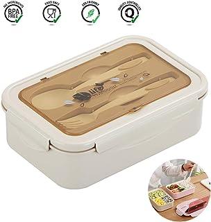 Benooa Bento Box para Estudiantes con 3 Compartimentos Kids Bento Lunch Box Reutilizables Contenedores de Almuerzo a Prueba de Fugas sin BPA para Adultos con Cuchara y Tenedor (Khaki)
