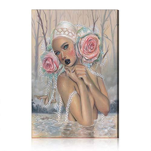 Five-Seller Schönes Mädchen Im Bad Wandkunst Leinwand Malerei Moderne Poster Und Drucke Abstrakte Wandbilder Für Wohnzimmer Dekor (Mit Rahmen,50 x 70 cm)