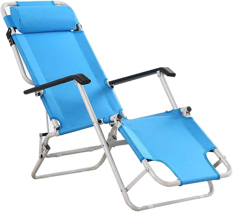 Folding Recliner Chair Garden Beach Deck Chairs Zero Gravity Sun Loungers Armchair with Headrest Portable bluee